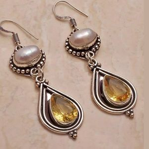 925 Citrine and Pearl Handmade Earrings